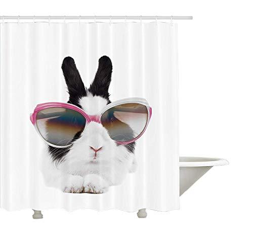 Yeuss Lustiger Duschvorhang, kleines Kaninchen in Sonnenbrille Beauty Bunny Flauschige Kreatur Haustier Portrait Mode Bild, Stoff Badezimmer Dekor Set mit Haken, Schwarz Weiß 72 'x 80'