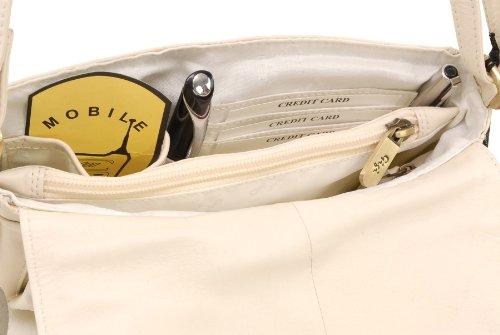 Organizer-Umhängetasche aus Leder von Gigi - GRÖßE: B: 22 cm, H: 14 cm, T: 5 cm Elfenbein (Crème)