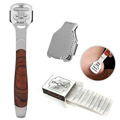 MWOOT Edelstahl Fußfeile Hornhautentferner Werkzeug,Holzgriff Dead Skin Remover Fuß-Dateien für Tote Verschrumpelte und Rissiger Haut