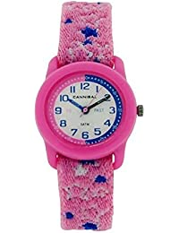 Cannibal Childrens Kids Time Teacher Pink & Blue Stretchy Fabric Watch CT255-14