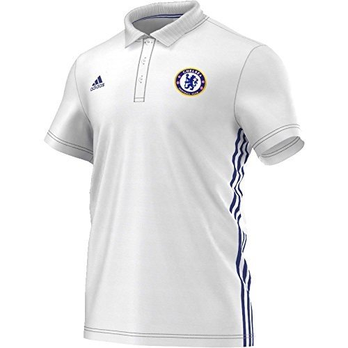 adidas Herren Fußball/Polo-Shirt FC Chelsea 3-Streifen Fußballshirt, White/Cheblu, 3XL -