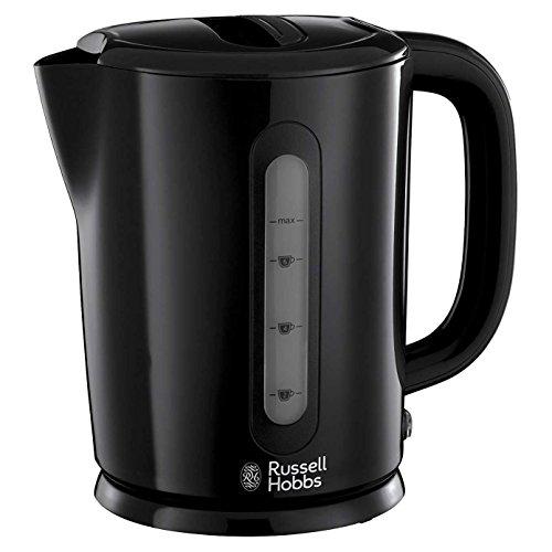 Russell Hobbs schwarzes Plastik Darwin Kessel 1.7L L 360 schwenkbarer Sockel elektrisch Blinker Power mit Wasser Fenster und einfach offenes Deckel -