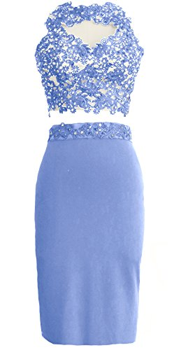 MACloth Gorgeous 2 Piece Jersey Cocktail Dress Short Prom Homecoming Formal Gown Himmelblau