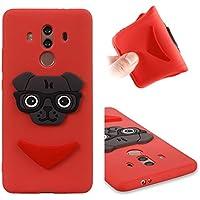 CMAOS Funda Huawei Mate 10 Pro, Silicona Cover Carcasa Huawei Mate 10 Pro, Fundas Carcasas Case Caso para Huawei Mate 10 Pro, Cachorro de perro de dibujos animados patrón personalizado 3D, sonrisa, Boomerang, animal, [Ultra-Delgado] [Anti-Rasguño] [Anti-Golpes] [Anti-Estático] [Resistente Huellas Dactilares] [Totalmente Protectora Caso de Plástico] Case para móvil de TPU silicona, [Funda + 1 Pack Vidrio Templado] Protector de Pantalla 9H Dureza - (Rojo)