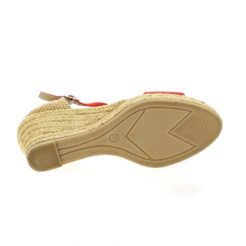 Pao Espadrille cuir velours corail Corail