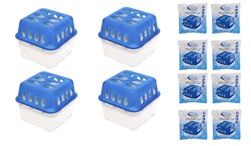 Preisvergleich Produktbild 4 x Box + 8 x 400 Gramm Luftentfeuchter (4D) + gratis Microfasertuch -VANI- 30 x 30 cm Nachfüllpack Vliesbeutel XXL Box Granulate Nachfüllen Raumentfeuchter