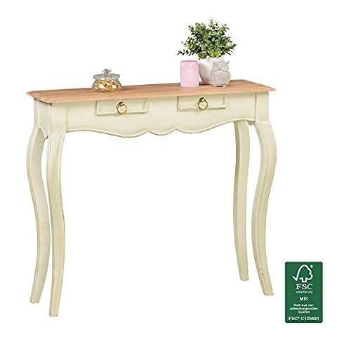 Konsolentisch Weiß Vintage Shabby Chic aus Massiv Holz   Landhaus Sekretär 90 cm breit   Schminktisch Akazie Massivholz   Tischkonsole mit 2 Schubläden