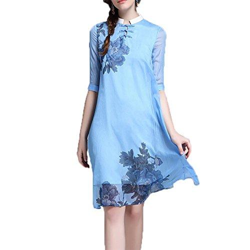 YUYU Dress manica Donne Stampa estate allentata Filati Moda sottile di seta a breve , blue , m
