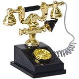 Téléphone de Bureau Rétro Vintage Miniature pour 1/12 Maison de Poupée