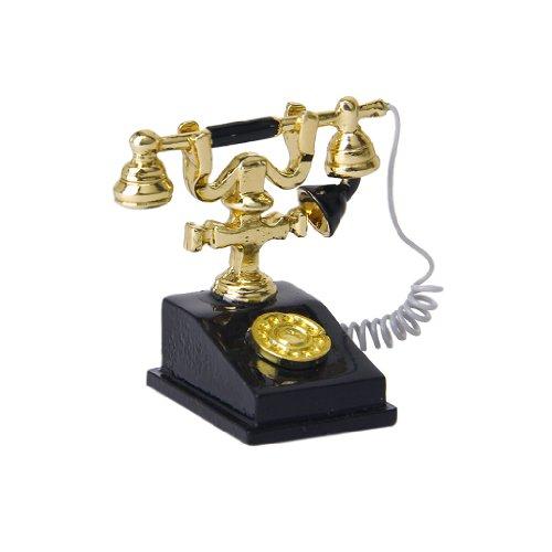 1/12 Dollhouse Mínimo Teléfono De Color Oro Y Negro