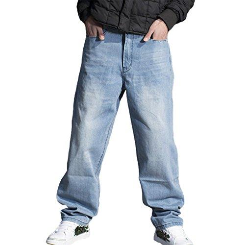 RUIXI Men's Baggy Denim Pants Loose Hip Hop Long Jeans Light Blue
