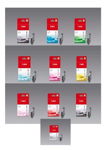 10 Original Druckerpatronen für Canon Pixma Pro9500 (PGI-9 PhotoCyan/MattBlacK/Grün/Grau/Red/PhotoMagenta/Cyan/Yellow/Magenta/PhotoBlacK) Tintenpatronen+ 10 Blatt Fotopapier 10x15cm (240g/m²) -