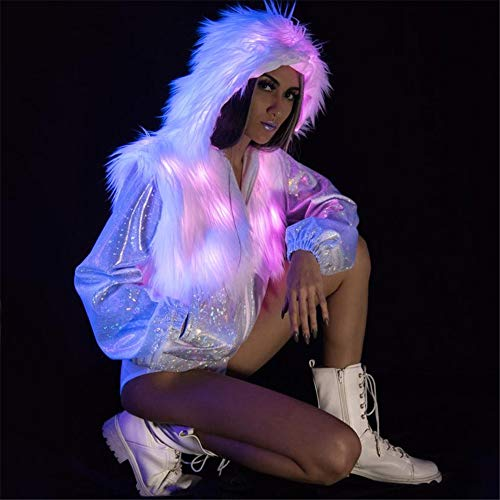 für Frauen Regenbogen Sparkly Leuchten Kapuzenjacke Weihnachten Halloween Nachtclub Cosplay Kostüm (Fernbedienung),XXXL ()