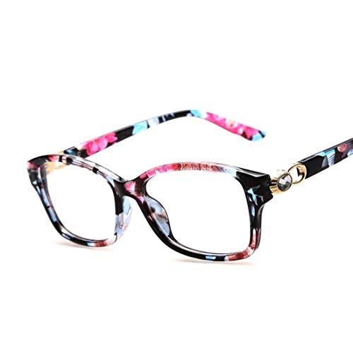 Zebuakuade Kunststoffrahmen Retro Brille Flach Brillen für Frauen Mode Brille Pink