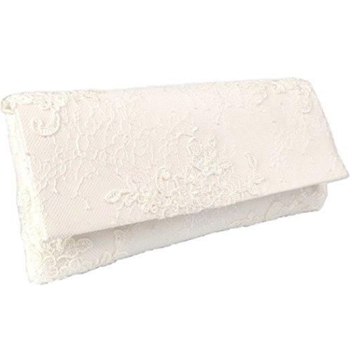 Romantische Spitzen-Clutch für die Braut, Brauttasche mit Spitze in ivory, creme, elfenbein (Elfenbein Handtasche Damen)