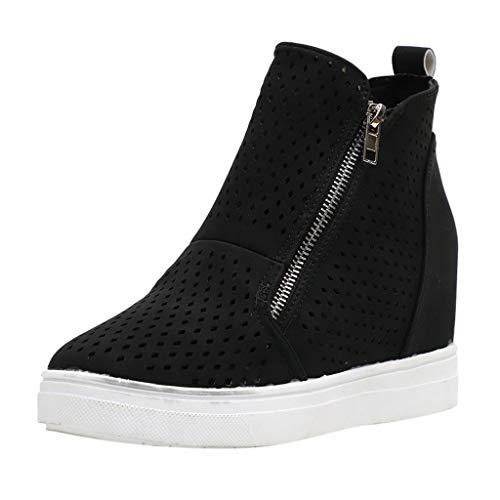 Dorical Plateau Sneakers für Damen/Frauen Keilabsatz Stiefeletten Wedge Plateau Boots Hohl Casual Keilabsatz Knöchel Ankle Boots 3 cm Bequeme Damenstiefel Gr 35-43(Schwarz,43 EU)
