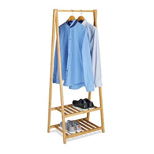 Relaxdays Kleiderständer Bambus, 2 Schuhablagen, Kleiderstange, HxBxT 150 x 60 x 40 cm, Garderobenständer, klein, natur