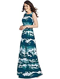 56919b88943 Belomoda Taffeta Silk And Crepe Fabric Sleeveless Printed Casual Partywear  Stitched Long Gown For Women