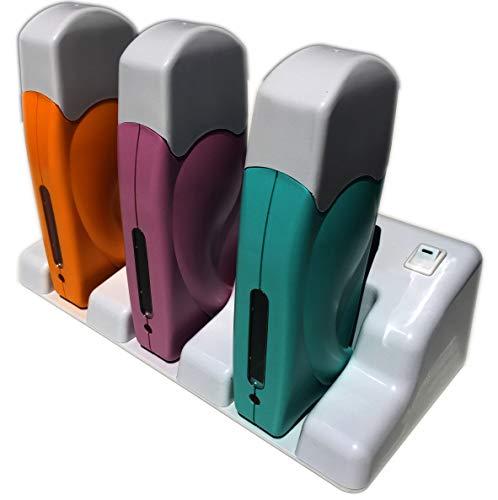 Epilwax S.A.S. - Calentador de cera depilatoria triple, inalámbrico con base de carga,...