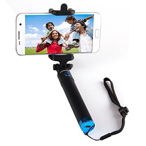 Selfie Stange Bluetooth Selfie Stick Ausziehbar und Kompaktes Einbeinstativ mit 50h Batterie für iPhone 7 7+ SE 6 6s 6+ Samsung Galaxy S7 Edge S7 S6 Edge S6 Note 5 Note 4 LG G5 Moto und weitere (blau)