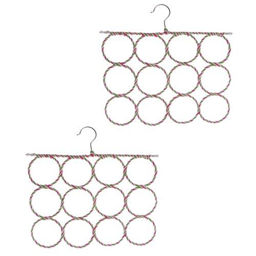 Gazechimp 2pcs Cintre Suspendu de Echarpe en Métal pour Organisation de Echarpe Foulard Cravate Armoire Maison - 12 trou