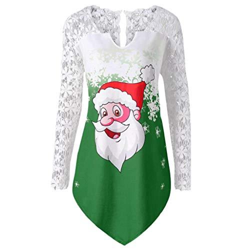 Damen Tops Plus Size Rovinci Weihnachten Drucken Bluse Schulterfrei Tops Hemd Christmas Spitze Patchwork Pullover Festlich Rentier Langarmshirt Longshirt Asymmetrisch Langarm