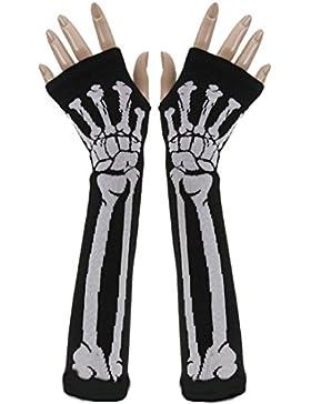 TININNA Cráneo de Halloween Hueso Esqueleto Guantes Imprimir sin dedos brazo largo Calentador Mujeres Niñas Negro