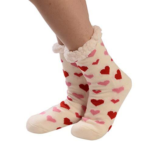 Moonuy 1 Paar Socken Frauen Weihnachten Print Socke Damen Lange Stock Baumwolle Socken Drucken Dicker Anti-rutsch-beiläufige Boden Socken Teppich Socken - Cutter Stock