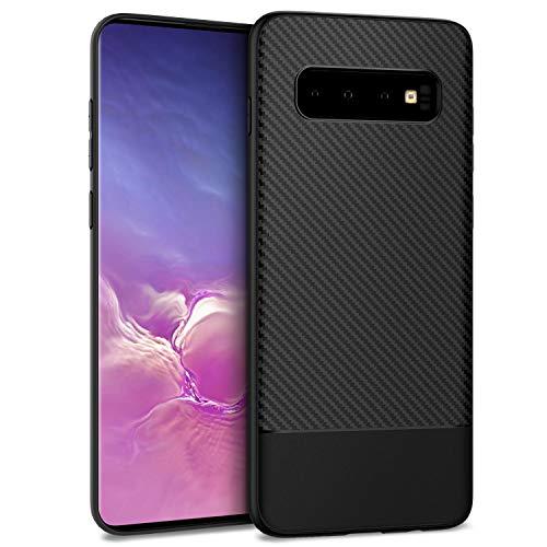 EasyAcc Hülle Case für Samsung Galaxy S10 Plus / S10+, [Carbon-Textur] Weich TPU stoßfest Kratzfest Handyhülle Schutzhülle Schmaler Cover Kompatibel mit Galaxy S10 Plus / S10+ - Schwarze