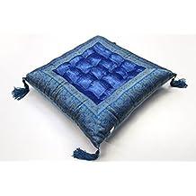 India Asiento puff Asiento Cojín Cojín de suelo India oriental Cojín de yoga, azul, 40 x 40 cm
