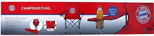 FC Bayern München Campingstuhl | Zusammenfaltbarer Camping-Stuhl mit Armlehnen und Getränkehalter | FCB Fan-Artikel Outdoor