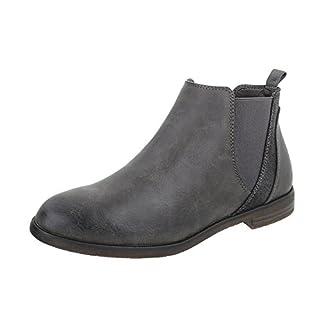 Chelsea Boots Damen-Schuhe Chelsea Boots Blockabsatz Blockabsatz Ital-Design Stiefeletten Grau, Gr 36, 951-Pa-