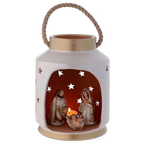 Holyart lanterna cilindrica beige e oro con sacra famiglia in terracotta deruta