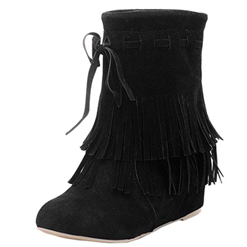 COOLCEPT Femmes Bottines Indienne Frange Talon Compense Interieur Black