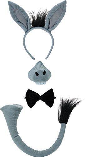 ied Lust Auf Weihnachten Party Stirnband Inc Ohren Nase Fliege Schwanz Satz Mit Ton - Esel Satz, One size (Esel Nase)