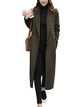 Donna Blazer Giacca Lunga Cappotto Manica Lunga Elegante Trench Coat Parka Outwear
