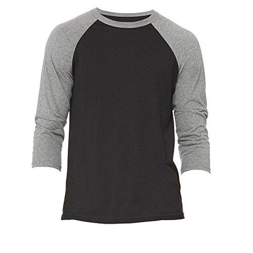 Bella+Canvas - Baseball T-Shirt mit 3/4 Ärmeln / Black/Deep Heather, XL (Bella Baseball-t-shirt)