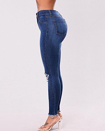 Jeans Leggings Donna Ginocchio Strappati Curvy Stretch Strappato Skinny Denim Pantaloni Blu 2