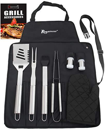 ROMANTICIST 8-teilig Barbecue Grill Zubehör Set Edelstahl Grillbesteck Set mit schürzen Set, Grillbesteck Set Papa Freunde