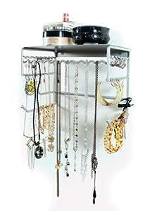 Silver 25.5 cm Wall Mount Jewellery & Accessory Storage Rack Organiser Shelf for Earrings, Bracelets, Necklaces, & Hair Accessories