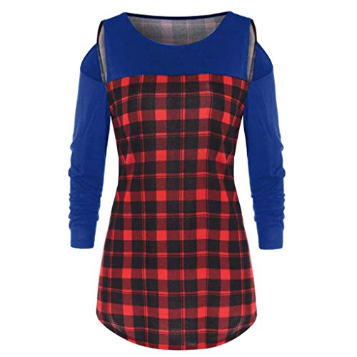Yvelands Damen Langarm Rundhalsausschnitt Plaid Off-Shoulder Top Patchwork Bluse Langarmshirts ()