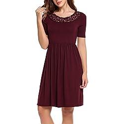 Zeagoo Damen Jerseykleid Sommerkleid Party Cocktailkleid Elegant Kleid Rundhals Kurzarm Knielang mit Spitze Weinrot XXL