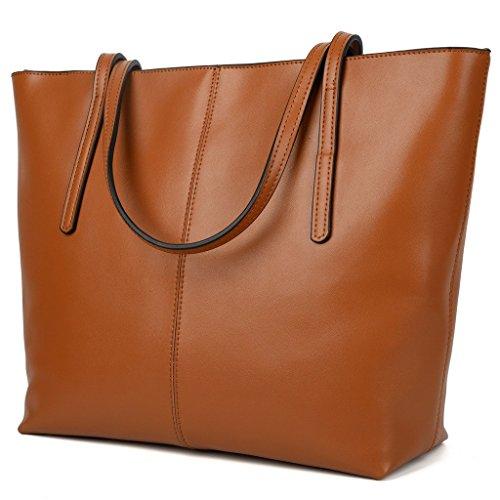 Yaluxe Damen einfach echtes Leder Henkeltasche elegant Handtasche Schultertasche braun