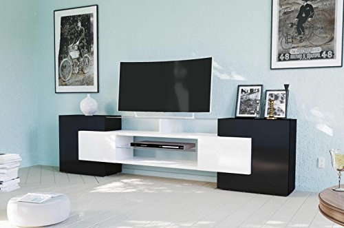 Tecnos TV Lowboard SLAVE weiß/schwarz Hochglanz