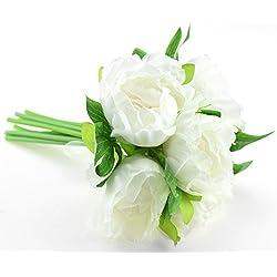 FiveSeasonStuff 1Bouquet aus Pfingstrose Seide künstliche Blumen und Hortensien/Ideal für Hochzeit, Brautschmuck, Party, Zuhause, Büro Dekor weiß