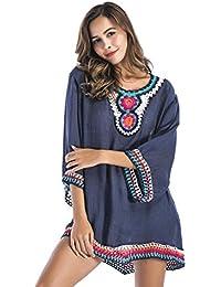 Kawei Abbigliamento Femminile Autunno vintage Fiore all uncinetto Cavo  Grande Sezione Media e Lunga Tops 23c628f65fa