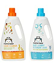 Amazon Brand - Mama Bear Plant Based Baby Laundry Detergent & Liquid Cleanser Combo - 1 L