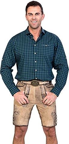 Almwerk Herren Trachten Lederhose kurz Modell Ludwig mit Gürtel in braun, hellbraun und dunkelbraun, Größe Herren:50, Farbe:Hellbraun