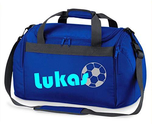 Sporttasche mit Namen   inkl. NAMENSDRUCK   Motiv Fußball   Personalisieren & Bedrucken   Reisetasche Jungen Ball Sport-Verein   blau schwarz (Royalblau)