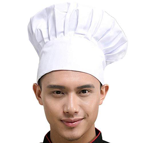 Fumee Verstellbar Elastisch Catering Erwachsene Kochen Kochmütze Koch Hut Kostümparty Abendkleid Unisex (weiß)